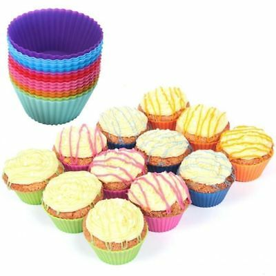 12pcs Silicone Cake Mold Cupcake  Liner Muffin Chocolate Dessert Baking Cup Mold