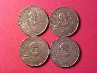 Brazil 500 Reis Silver 1532-1932 Lot Of Four (4) Coins