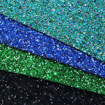 A4 Chunky Glitter Faux Vinyl Leatherette Fabric Sheets DIY Handmade Bows Craft