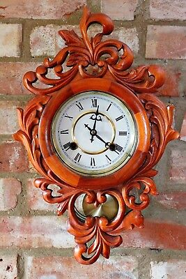 Vintage Unusual Solid Wood Carved Case 31-Day Striking Wall Clock
