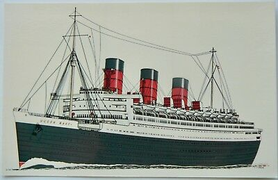 Postcard-Ships.the Queen Mary.launched 1934.now At Long Beach California