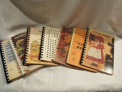LOT OF 7 Vitnage Community / School Cook Books - Spiral Bound