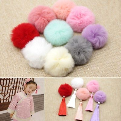 5Pcs Rabbit Fur Pom Pom Ball Soft Fluffy Hat Beanie Shoes 6CM Accessories Decor