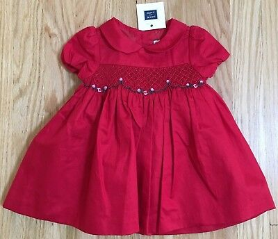 6097b5bc70bf JANIE and JACK HOLIDAY RED ROSEBUD FLORAL SMOCKED DRESS BLOOMERS 0-3 3-6