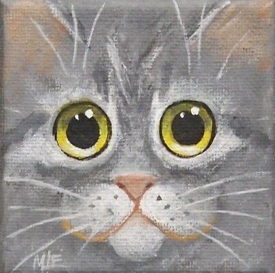 THE SQUARE CAT MINI PAINTING OF SWEET GRAY TABBY CAT FACE  By ENGELDINGER