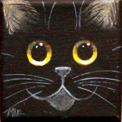 THE SQUARE CAT MINI PAINTING OF AN ADORABLE BLACK CAT FACE By ENGELDINGER