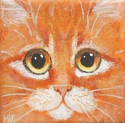 THE SQUARE CAT MINI PAINTING OF AN ORANGE TABBY CAT FACE By ENGELDINGER