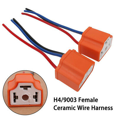 Female Ceramic Headlight Connector Pigtail Plug Adapter Socket H4/9003/HB2 New