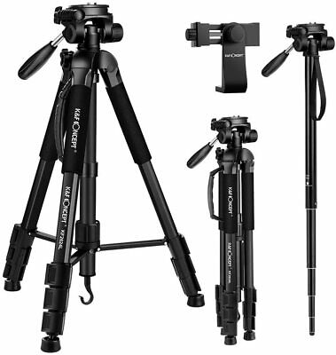 K&F Concept Camera Travel Tripod Monopod w/ Phone Holder Pan Head for Canon Sony