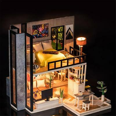 Dollhouse Miniature Furniture DIY Kit Wood Toy Doll House Cottage W/ LED lights