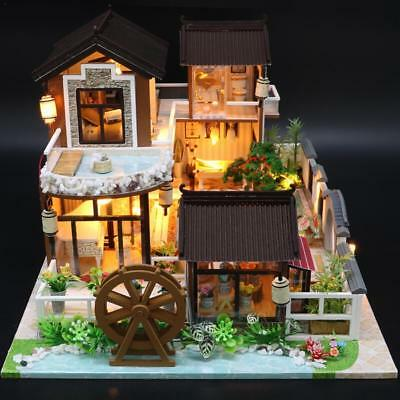 DIY Wooden Doll House Miniature Kit Ancient Architecture Dollhouse Toy XMA SGift