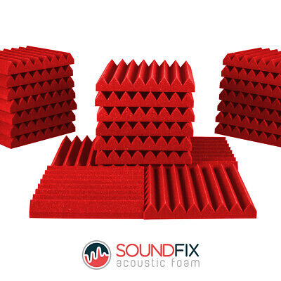 24 Red Wedge Acoustic Foam Panel Tiles - 50mm thick 300mm Studio Sound Treatment