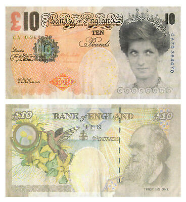 2 x Guaranteed Un-Authentic Banksy Di-Faced Tenner Replica's