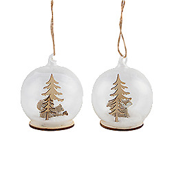 Sass and Belle Set of 2 Baubles With Woodland Feature - Christmas Tree Baubles
