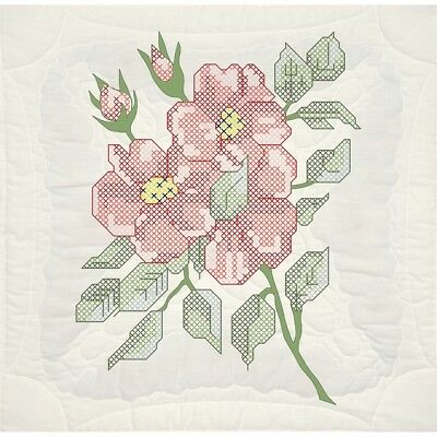 "Fairway Stamped Quilt Blocks 18""x18"" 6/pkg-red Roses"