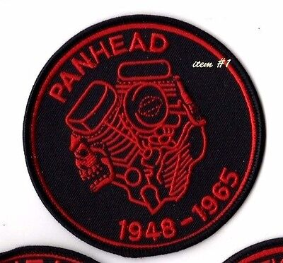 CAFÉ RACER ROCKERS FOREVER TON-UP BOYS IRON-ON red PATCH: PANHEAD V2 ENGINE
