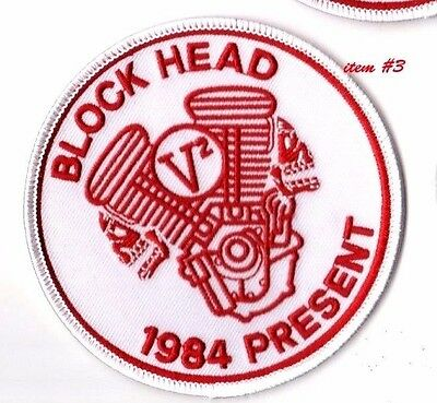 CAFÉ RACER ROCKERS FOREVER TON-UP BOYS IRON-ON white PATCH: BLOCKHEAD V2 ENGINE
