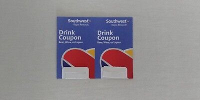Lot Of 2 SOUTHWEST AIRLINES Two Drink Travel  Voucher BEVERAGE COUPONS 07.31.19