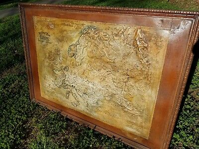 1895 Central School House Supply Co. Relief Map of Europe Beautiful Piece Large