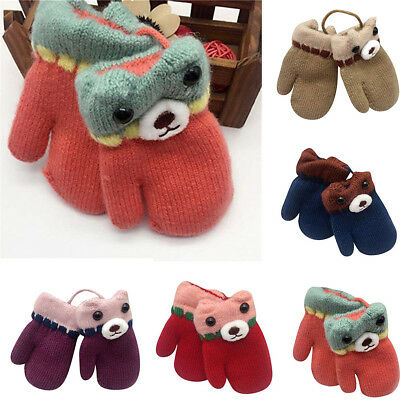 Fashion Toddler Baby Cute Thicken Cartoon Hot Girls Boys Of Winter Warm Gloves