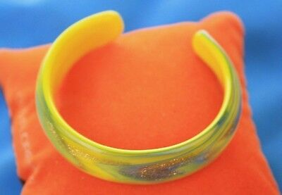 Vintage Venetian Murano Art Glass Yellow Blue & Gold Aventurine Bangle Bracelet