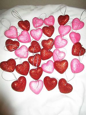 30 Glittery Heart Ornaments Pink & Red Valentine Wedding Party Nip