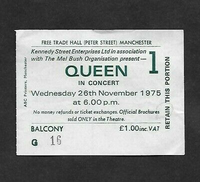 QUEEN : A Night At The Opera 1975 Tour Manchester UK Concert Ticket Stub