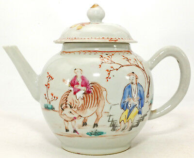 EXCELLENT WELL PAINTED CHINESE FAMILLE ROSE BOY ON A BUFFALO TEAPOT c1760's