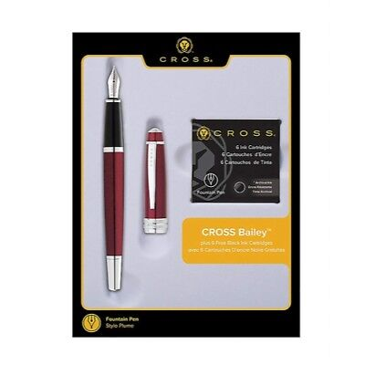 Cross Bailey Medium Stainless Steel, Fountain Pen Red + 6 Refill AT0456H-8MS