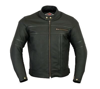 L Mens New Black & Matte Leather Two Tone Racing Motorcycle / Motorbike Jacket