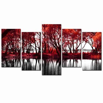 Live Art Decor Lake of The Woods Autumn Landscape Canvas Wall Art Red Tree