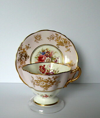 Hammersley F. HOWARD Pink Dresden Flowers Bone China Tea Cup & Saucer