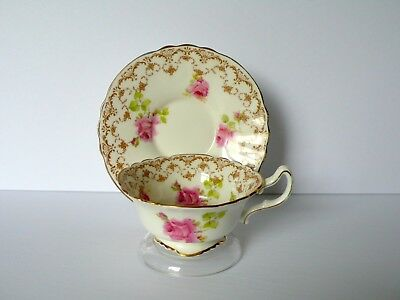Antique Royal Doulton Pink Roses Bone China Tea Cup & Saucer