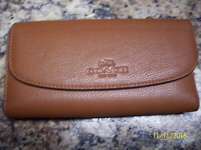Coach Pebbled Leather Brown Wallet