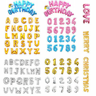 """Gold Silver Pink Blue 16"""" Alphabet Letter Number Foil Balloon Wedding Party Name"""