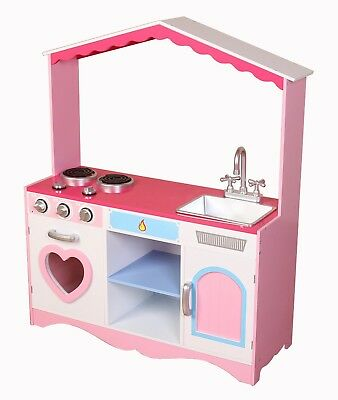 Kiddi Style Girls 'Heart' XLarge Childrens Kids Pretend Play Toy Wooden Kitchen