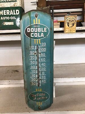 "1940's/1950's Double Cola Soda Pop 27"" Metal Thermometer Sign Rusty Gold"