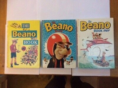 3 x Beano Annuals 1967, 1968, 1969. Good Condition. Slight damage to spines.