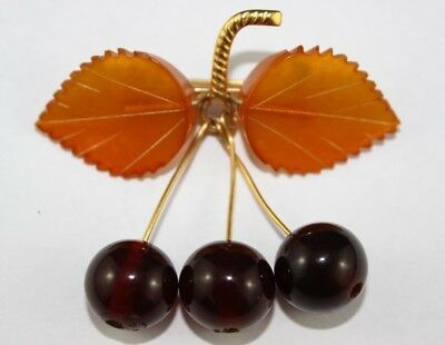 Gorgeous  Vintage Baltic Amber Cherry Amber Pin/brooch