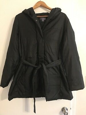 Motherhood Maternity Black Hooded Winter Coat XL