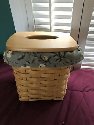 Longaberger Tall Tissue Basket With Liner, Lid, And Protector
