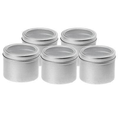 5Pcs 100ml Empty Aluminium Cosmetic Pot Jar Tin Container Silver Sample Jar