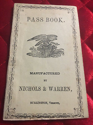 Vintage 1853 Savings Bank ~ Pass Book Deposit Account For State Of Vermont.
