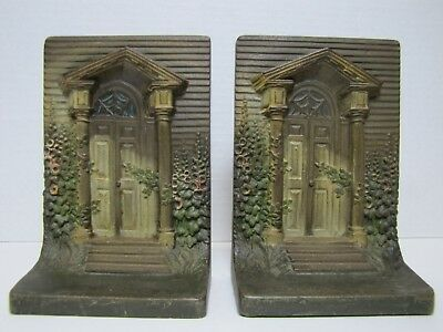 Antique B&H COLONIAL DOOR Bookends BRADLEY HUBBARD Cast Iron Old Paint Ornate