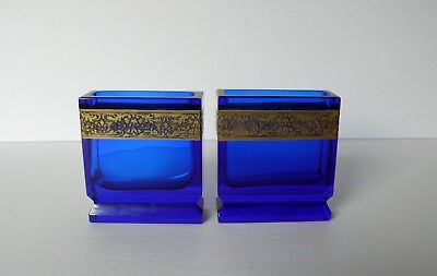 Pair of 19th C Antique Moser Cobalt Blue Glass Card Holders Gold Decoration