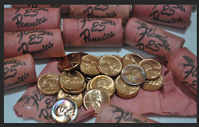 1958 D Rare Flamingo Casino 1 short Lincoln Wheat Cent Cents 1c Roll 25 Pennies