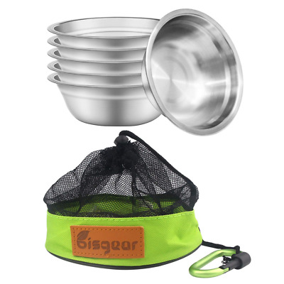 6pcs Backpacking Camping Stainless Steel 6inch Bowl + Carabiner + Dishcloth Mess