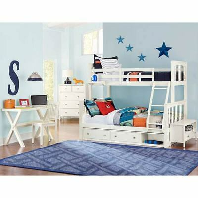 NE Kids Pulse White Twin Over Full Bunk Bed with Storage - 33050NS