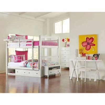NE Kids Pulse White Full Bunk Bed with Storage - 33060NS
