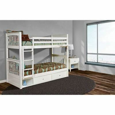 NE Kids Pulse White Twin Bunk Bed with Storage - 33040NS